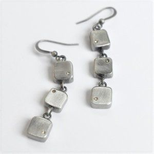 Handcrafted Silver Earrings with Inset Crystals